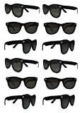 Black Sunglasses Wholesale Party Pack-12 Retro Wayfarer Risky Business-Blues Brothers Black Sunglasses For Graduation-Mardi-Gras-Holidays-Birthdays-Parties-Adults and Kids-New Improved Great Quality