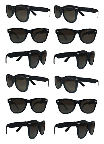 Black Sunglasses Wholesale Party Pack-12 Retro Wayfarer Risky Business-Blues Brothers Black Sunglasses For Graduation-Mardi-Gras-Holidays-Birthdays-Parties-Adults and Kids-New Improved Great - One One Get Buy Frame Free