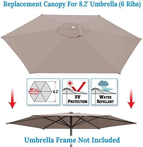 Umbrella Cover Canopy 8.2ft 6 Rib Patio Replacement Top Outdoor-Taupe