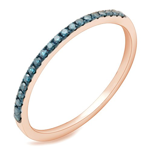 Prism Jewel 0.15 Carat Round Blue Color Diamond Stackable Anniversary band, 10k Rose Gold, Size 7