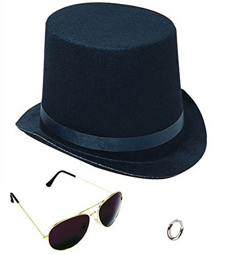 Lip Ring Top Hat and Aviator Sunglasses The Slash Bundle Costume Accessories Black/Silver ()