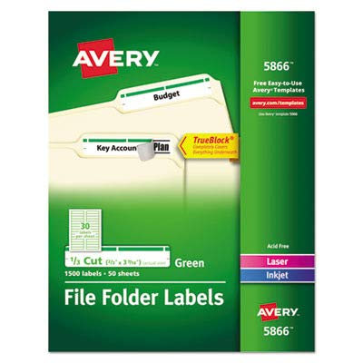 Permanent Filing Labels, 1/3 Cut, 1500/BX, Green ()