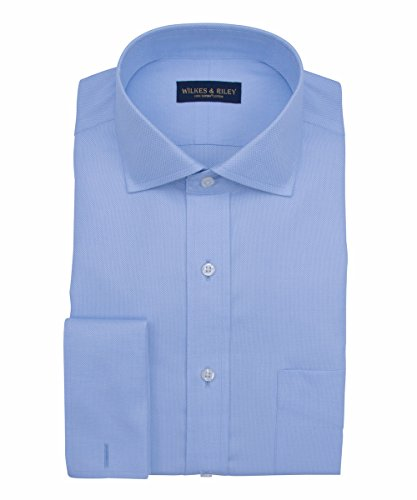 Wilkes & Riley, Tailored Fit, Non-Iron Blue Royal Oxford English Spread (Non Iron Spread Collar Oxfords)