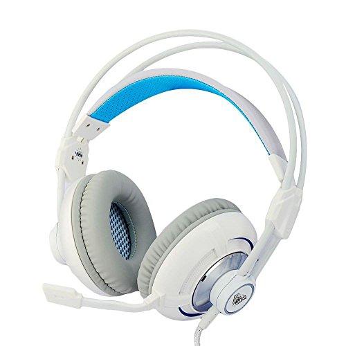 XHKCYOEJ Headset Stereo Headset/Headphones/Headphones/Headwear/Games/Earphones/Bass/Internet Cafes/Computers/Headphones,White: Amazon.co.uk: Electronics