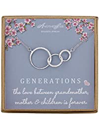 Generations Necklace for Grandma Gift - Sterling Silver Infinity 3 Circle CZ Necklace Mom Granddaughter Grandson Jewelry Birthday Gifts