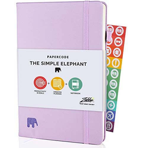 Simple Elephant Productivity Planner - Undated Organizer for 2021-2022 - Daily Work Planner, Goal Journal & Diary - Leatherette Planners and Organizers w/ Pen Holder, Stickers & eBooks