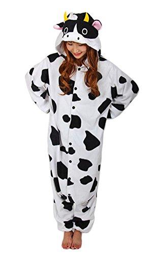 (NEWPJS Unisex Adult Pyjamas Halloween Cow Costume One Piece Animal Cosplay Onesie)