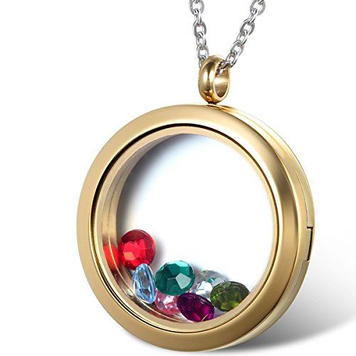 Oidea Womens Living Memory Stainless Steel Round Floating Charm Circle Memory Locket Pendant Necklace, Gold