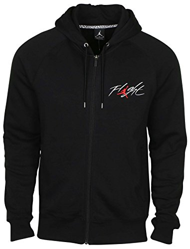 NIKE Jordan Men's AJ Flight Full Zip Hoodie-Black-2XL