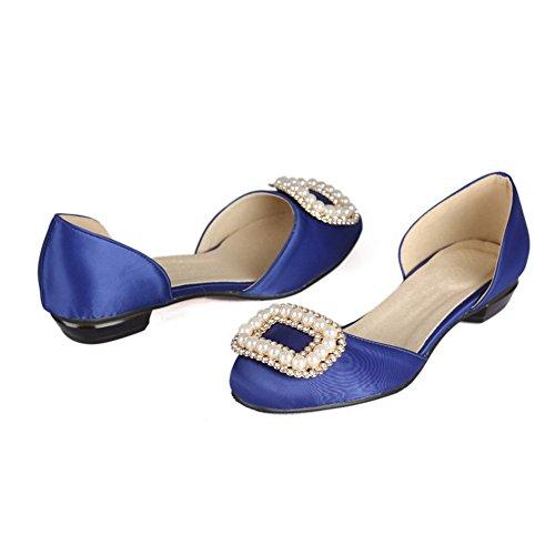 AllhqFashion Damen Blend-Materialien Ziehen auf Rund Zehe Ohne Absatz Rein Pumps Schuhe Blau