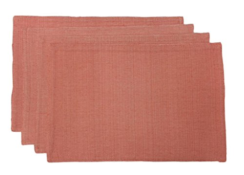 Lintex Linens Rio Cotton Polyester Indoor Outdoor Table Linens, Placemats 13-Inch by 19-Inch Set of 4, Coral