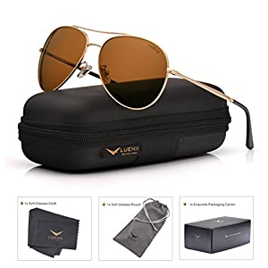 LUENX Aviator Sunglasses Polarized Brown for Men Women with Case - UV 400 Protection - All Black Metal Frame 59mm