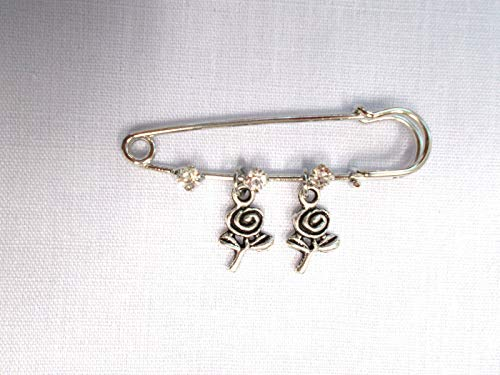 (New 2 PIN Brooch w 3 Crystals 2 Swirl Paper Rose Flower Double Dangle Charms KEZ-1811)