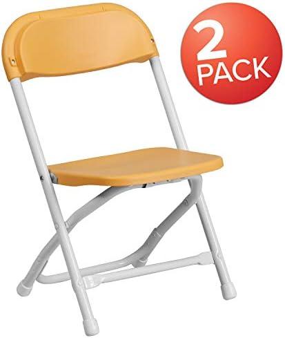 Flash Furniture 2 Pk. Kids Yellow Plastic Folding Chair