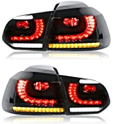 KIMISS TailLights Assembly, VLAND Full LED Dynamic Tail Lights for R-Look Smoked Lens Brake Lamp ...