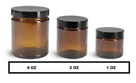 4 Oz AMBER Glass Jar Straight Sided with Black Lid - Pack of 6 (4 OZ, - Glasses Face For