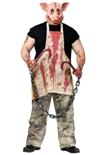 Funworld Mens Horror Haunted House Bloody Butcher Pig Fancy Halloween Costume, (Butcher Pig Costumes)