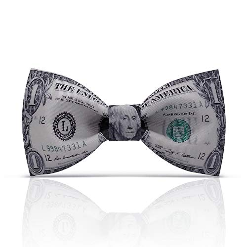 Lanzonia Funny Dollar Bow Ties for Men, Designer Money Bowtie for Wedding Prom Party Graduations Valentines Day (Best Bow For The Money)