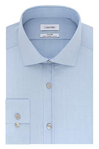 Calvin Klein Men's Dress Shirt Slim Fit Non Iron Stretch Solid, Powder Blue, 15.5