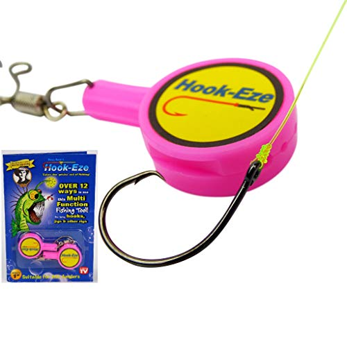 HOOK-EZE Fishing Hook, Swivel, Line, Safety Tying Device, Line Cutter & More (Pink)