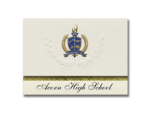 Signature Announcements Acorn High School (Mena, AR) Graduation Announcements, Presidential style, Elite package of 25 with Gold & Blue Metallic Foil seal ()