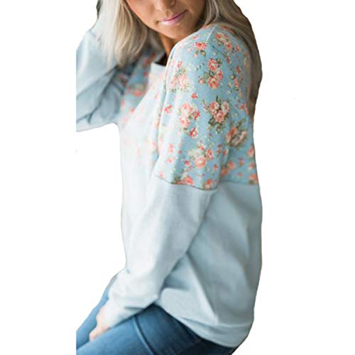 Blue Di Patchwork T Manica Lunghe A shirt Maniche Lunga Con Stampa In Moda Scollo Fvdvrgea Floreale ZawSUq