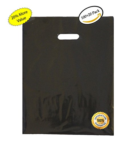 120 12x15 Durable Black Merchandise bags Pick ur Color Die Cut Handle-Glossy finish-Anti-Strech-100% Recyclable. For Retail store, Party favors, Handouts Plastic bags and more by Best Choice