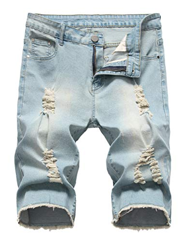 (Sarriben Men's Casual Summer Distressed Button up Stretch Ripped Jeans Shorts with Repair Rips Retro Blue)