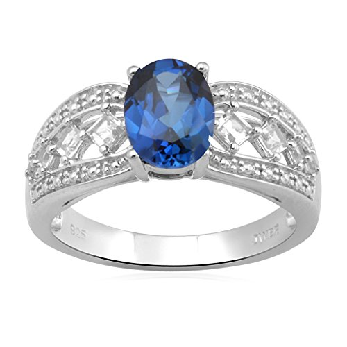 Jewelili Sterling Silver Oval Created Ceylon Sapphire with Created White Sapphire Ring, Size 7 ()