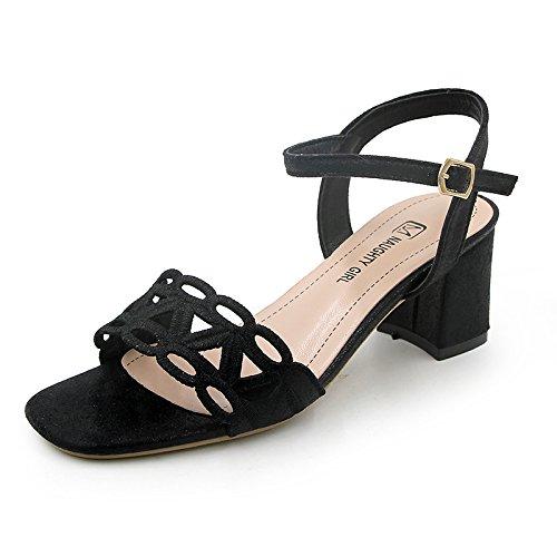 tacones huecas altos Cómodas yalanshop con para vertiginosos sandalias y mujer 7 Black tacones 1qqHnYd