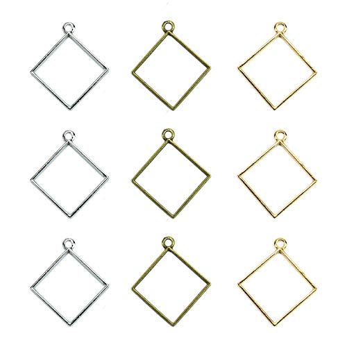 Fciqven 30 Pcs Square Open Bezel Pendant for DIY Resin,Jewelry Making,Hollow Frame Pendant with 1 Loop - Gold&Silver&Bronze