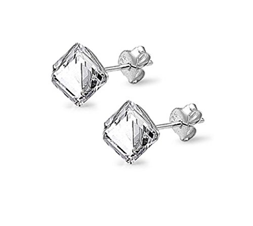 Simulated Crystal Clear Cube Stud Earrings Sterling Silver