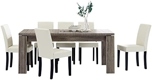 [en.casa] Set de comedor mesa \'Helsinki\' (antigua - 170 x 79 cm) 6 sillas  (tapizadas - crema) - set ahorro