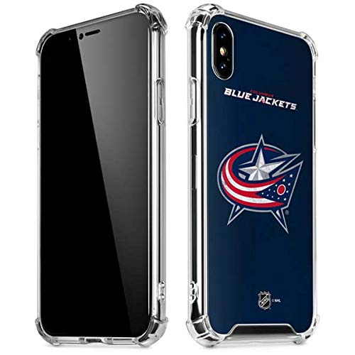 Skinit Columbus Blue Jackets Distressed iPhone XR Clear Case - Officially Licensed NHL Phone Case Clear - Transparent iPhone XR Cover