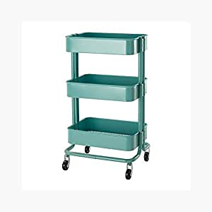Royal Wagon Home Kitchen Bedroom Garden Storage Utility Rolling Organization on Wheels Cart (Turquoise)