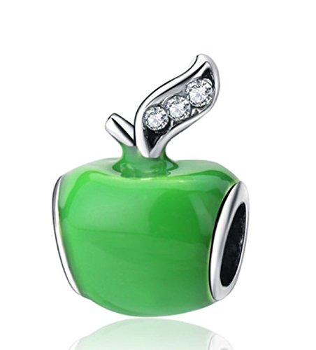J&M Green Apple with Crystals Charm Bead for Charms Bracelets