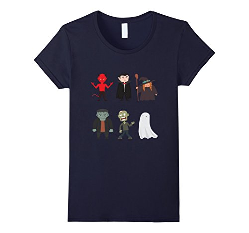 Scary Women Characters (Womens Halloween Scary Character Monsters Dracula Ghost Shirt XL Navy)