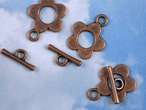 10 Sets Clasps Copper Tone Cut Out Flower Round with Toggle Vintage Crafting Pendant Jewelry Making Supplies - DIY for Necklace Bracelet Accessories by CharmingSS