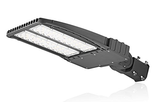LED Shoebox lighting Parking Lot Light for 200W To 1000W HID Replacement AC100-277V Over 100lm Per Watt IP65 Waterproof for Round Pole in Street, Garden Path, Parking Lot Wet Application (100W)