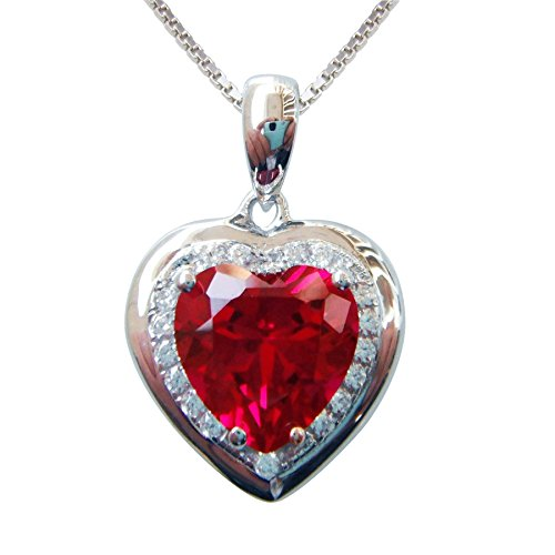 18k Ruby Necklace (Navachi 925 Sterling Silver 18k White Gold Plated 3.7ct Heart Ruby Az9078p Necklace Pendant 16