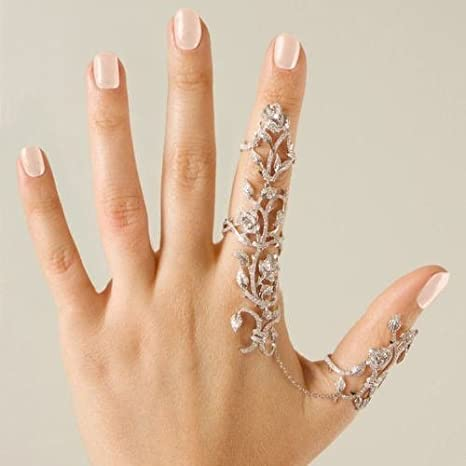 Tmrow 1pc Flower Hand Bracelet Chain Ring Cuff Finger Rings for Party//Bride,NO.7