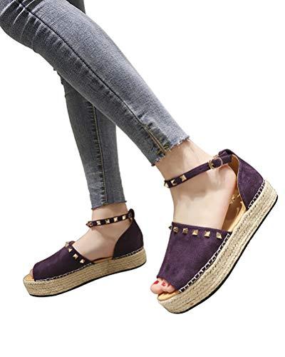 Womens Platform Sandals Peep Toe Ankle Strap Cut Out Espadrilles Shoes Leopard Rivet Beach Sandals A Violet 10