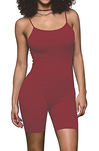 Jescakoo Womens Rompers Strappy Body con Tank One Piece Jumpsuit Wine Red - Jumper Spandex
