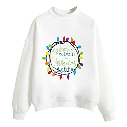iHHAPY Womens Sweatshirt Christmas Pullover Casual Blouse White Pullover Casual Tops Letter Printed Jumper M-XXL (Day London Christmas Jumper)