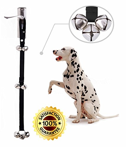 Dog DoorBell For Potty Training Durable & Adjustable Hanger Strap With 3 Pet Friendly Bells For Housebreaking Home Dog Training No Barking & Door Scratching For Puppies Large Dogs & ()