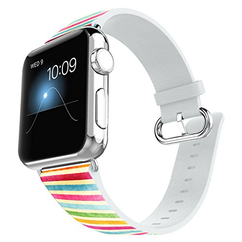 (Apple Watch Band 38mm Leather + Stainless Steel Connector iWatch Band Replacement Bracelet Strap for Apple Watch Sport and Edition 38mm - pink watercolor stripes)