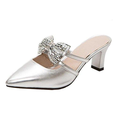 À Bout 9 Pointu Taoffen Bowknot Femmes Enfiler Silver Sandales xqffXzEwB