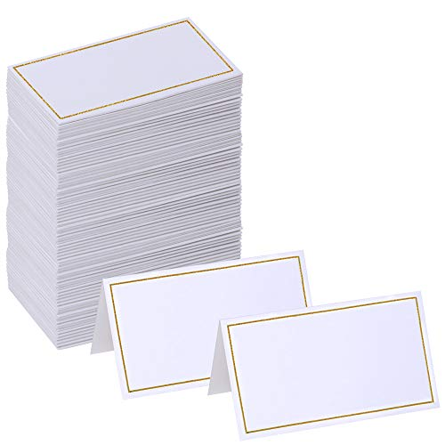 Supla 100 Pcs Wedding Table Name Place Cards Blank Greeting Cards Name Tags Tented Seating Table Cards Small Tent Paper Cards in White 3.5