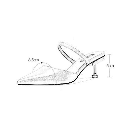 Tamaño WYYY Color Verano La Oro EU36 Puro Retro Casuales Apuntado Zapatos Tacones Bajo Temporada De De Bajos Mujer UK4 Zapatos Color De Talón Sandalias Fiesta Playa Bloque Plata Sw1rXqS4