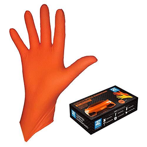 GUANTES de NITRILO DIAMANTADO naranjas - Los guantes de nitrilo MAS RESISTENTES del mercado - SIN LATEX - REUTILIZABLES (M)